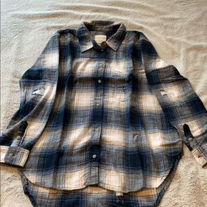 Oversized distressed flannel button up